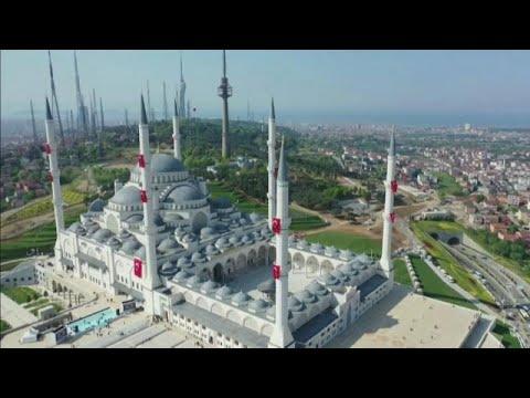 شاهد افتتاح أكبر مسجد في تركيا بحضور أردوغان